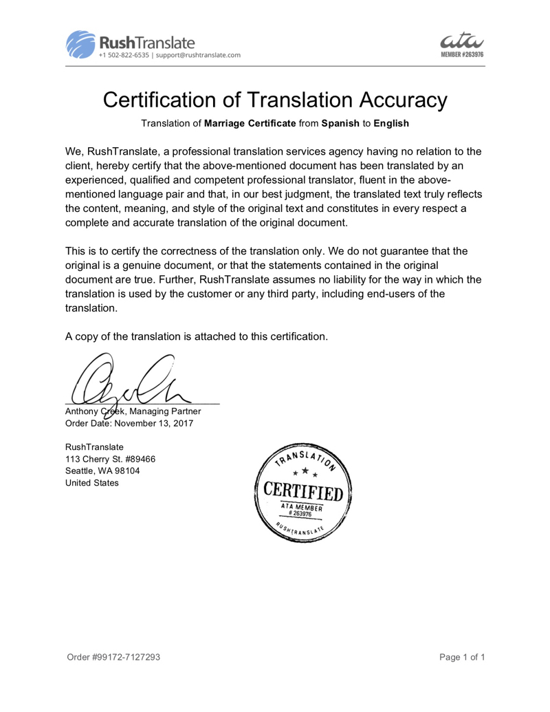 Certified birth certificate translation rushtranslate certificate of translation accuracy sample yadclub Choice Image
